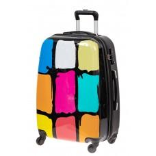 На фото 1 - Прочный пластиковый чемодан с яркой расцвет...
