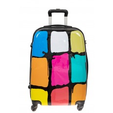 На фото 2 - Прочный пластиковый чемодан с яркой расцветкой