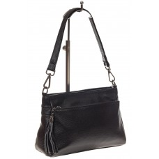 На фото 1 - Небольшая женская сумка из натуральной кожи, цвет черный