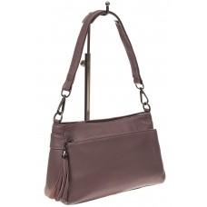 На фото 1 - Небольшая женская сумка из натуральной кожи, цвет пудра