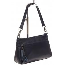 На фото 1 - Небольшая женская сумка из натуральной кожи, цвет синий