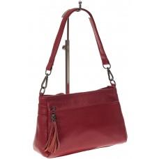 На фото 1 - Небольшая женская сумка из натуральной кожи, цвет бордо