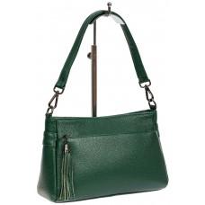 На фото 1 - Небольшая женская сумка из натуральной кожи, цвет зелёный
