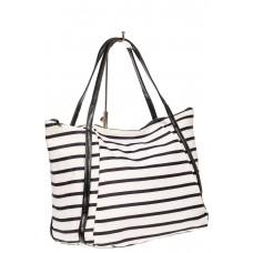 На фото 1 - Женская сумка из велюра, белый с черным