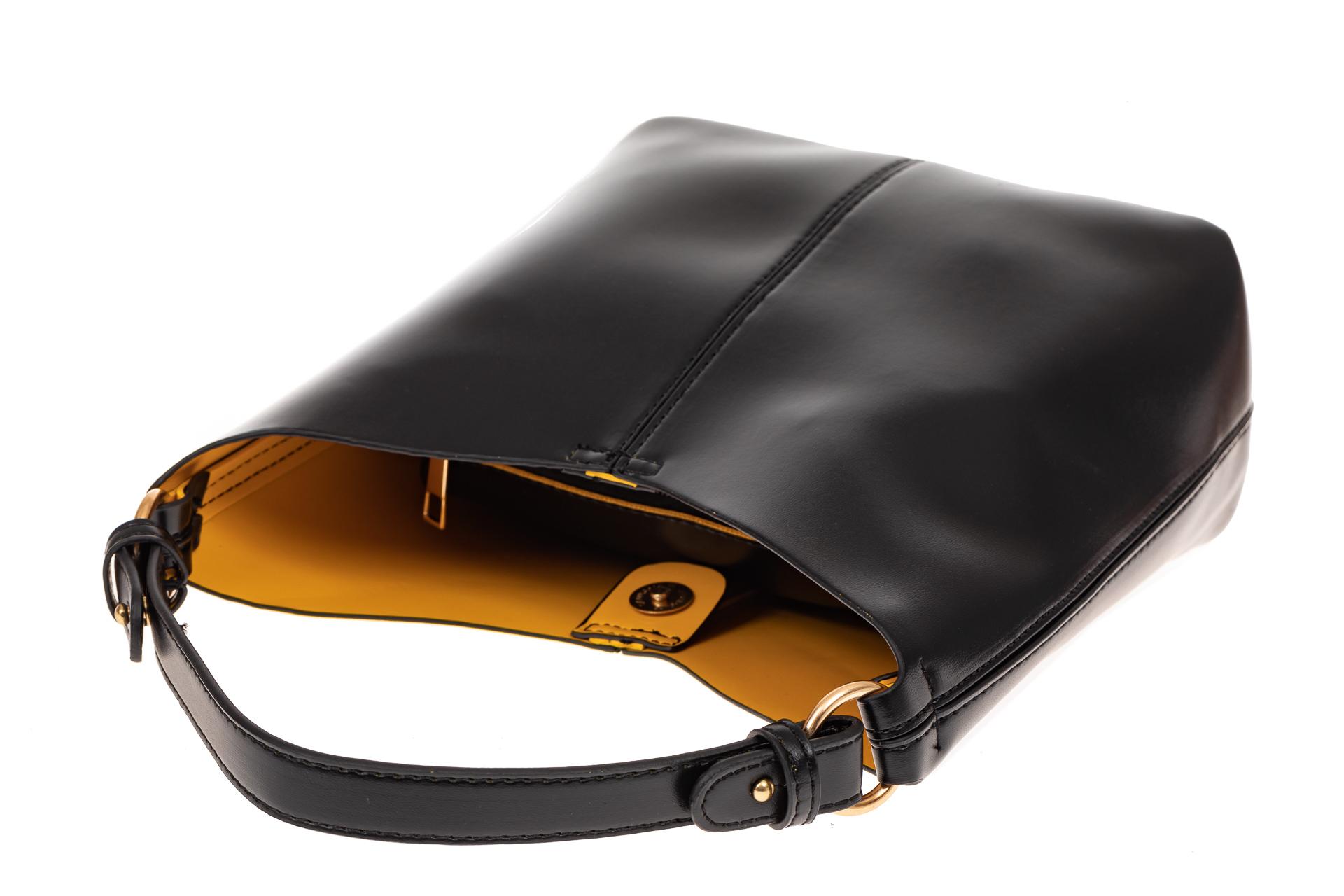 На фото 3 - Сумка хобо из искусственной кожи, цвет черный