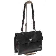 На фото 1 - Мягкая сумка из натуральной кожи черного цвета