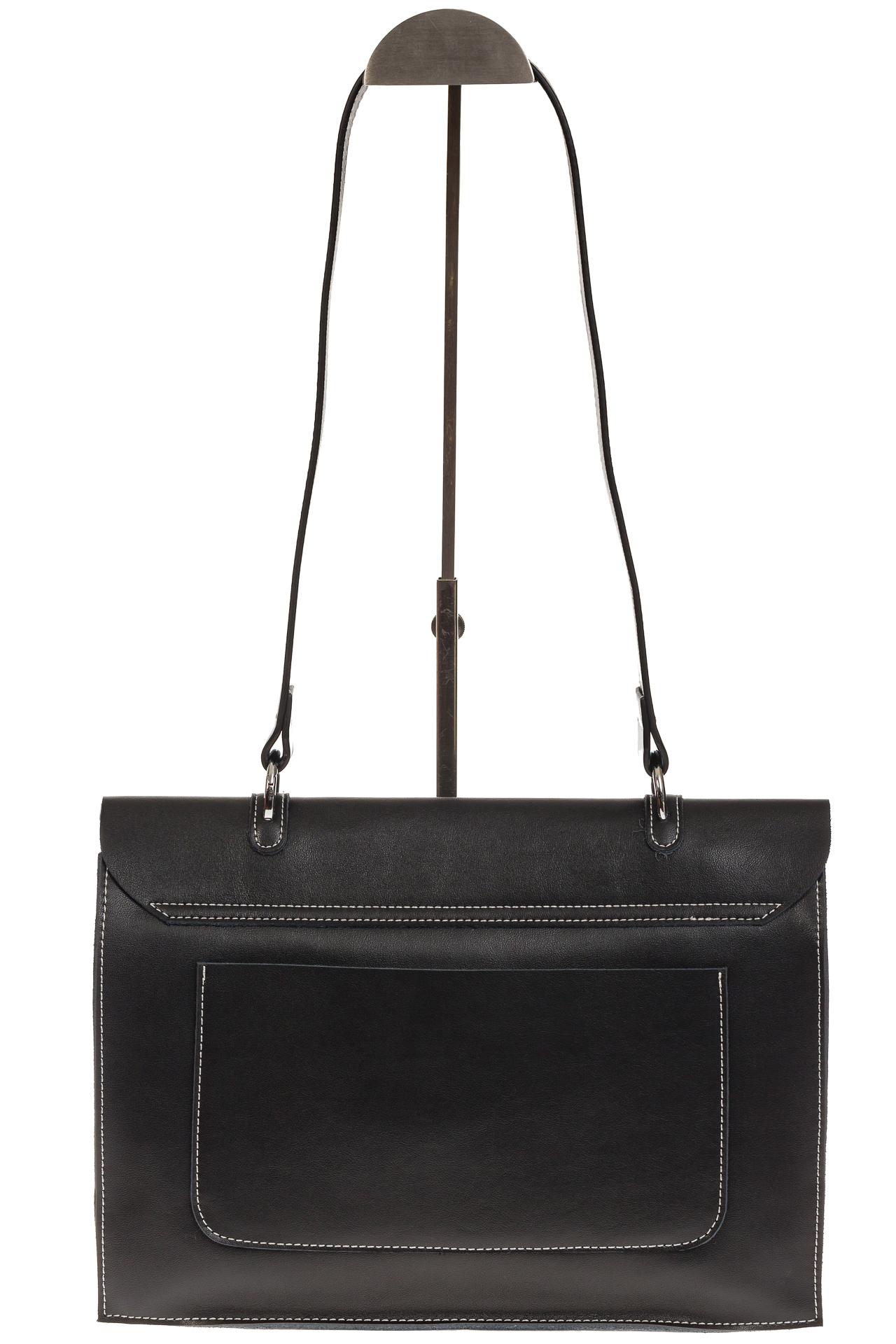 На фото 3 - Мягкая сумка из натуральной кожи черного цвета