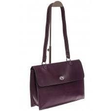 На фото 1 - Мягкая сумка из натуральной кожи фиолетового цвета