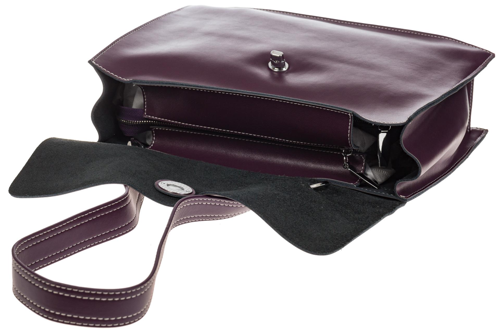 На фото 4 - Мягкая сумка из натуральной кожи фиолетового цвета