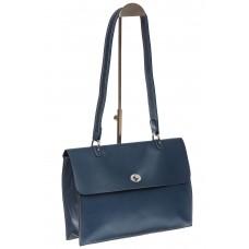 На фото 1 - Мягкая сумка из натуральной кожи серо-голубого цвета