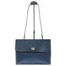 На фото 2 - Мягкая сумка из натуральной кожи серо-голубого цвета