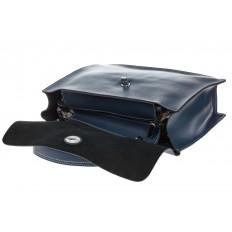На фото 4 - Мягкая сумка из натуральной кожи серо-голубого цвета