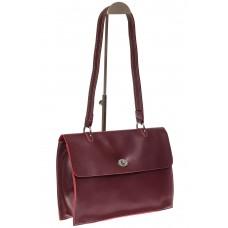 На фото 1 - Мягкая сумка из натуральной кожи бордового цвета