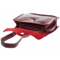 На фото 4 - Мягкая сумка из натуральной кожи бордового цвета
