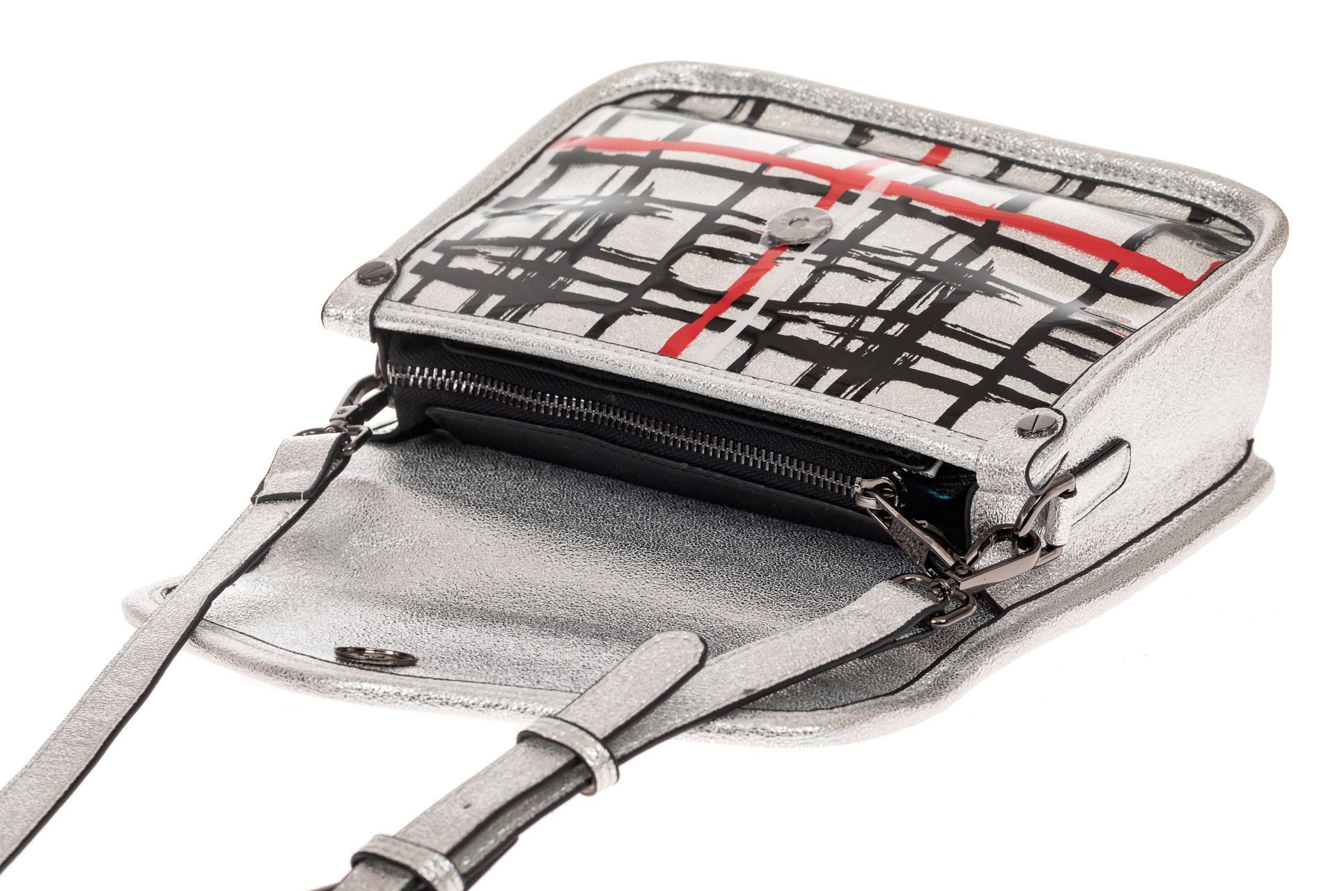 На фото 3 - Летняя кросс-боди из искусственной кожи, цвет серебро
