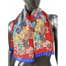На фото 1 - Лёгкий шейный платок с яркой росписью, цвет красный