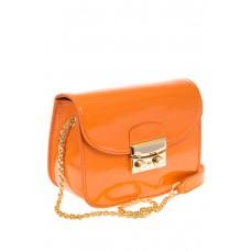 Наплечная сумка с лаковым эффектом цвета манго 8051 на фото