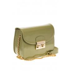 Оливковая наплечная сумка с лаковым эффектом 8051 для оптовых покупателей
