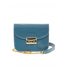На фото 2 - Синяя сумочка cross-body из наплака с глянцевым эффектом 8051AK2