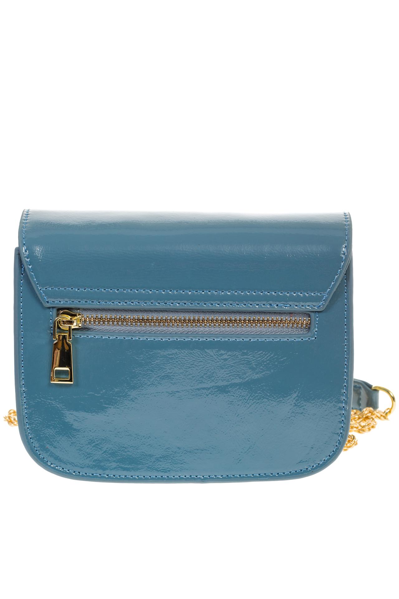 На фото 3 - Синяя сумочка cross-body из наплака с глянцевым эффектом 8051AK2