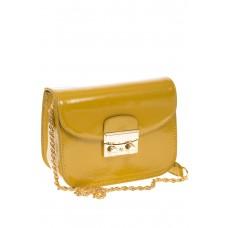 Желтая наплечная сумка с лаковым эффектом 8051 на фото
