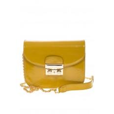 На фото 2 - Желтая сумочка cross-body из наплака с глянцевым эффектом 8051AK2