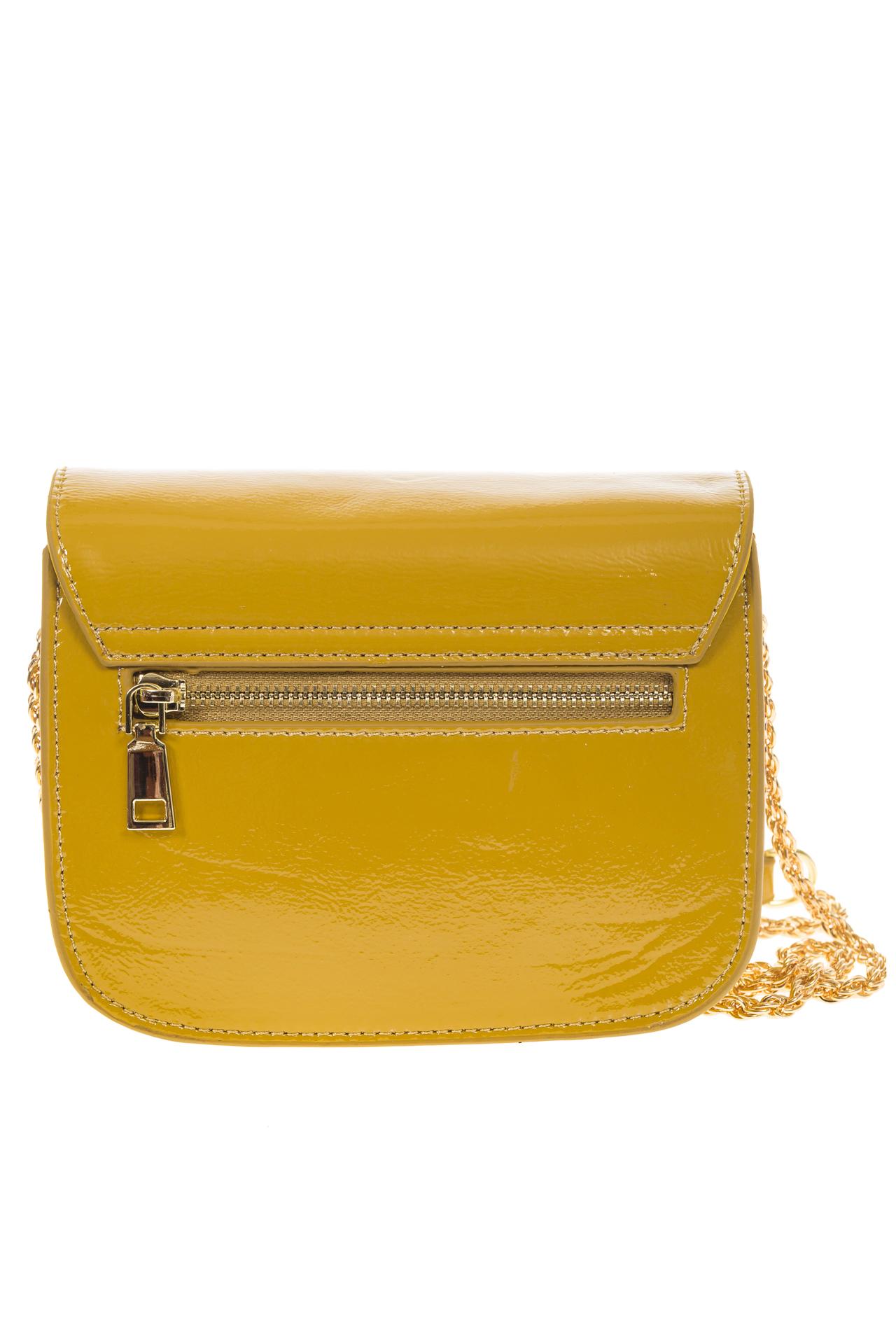 На фото 3 - Желтая сумочка cross-body из наплака с глянцевым эффектом 8051AK2