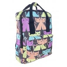 На фото 1 - Молодёжный рюкзак из текстиля с принтом, цвет чёрный