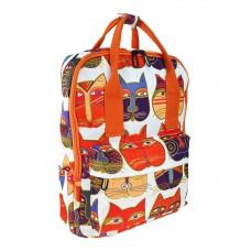 На фото 1 - Молодёжный рюкзак из текстиля с принтом, цвет белый