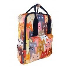 На фото 1 - Молодёжный рюкзак из текстиля с принтом, мультицвет