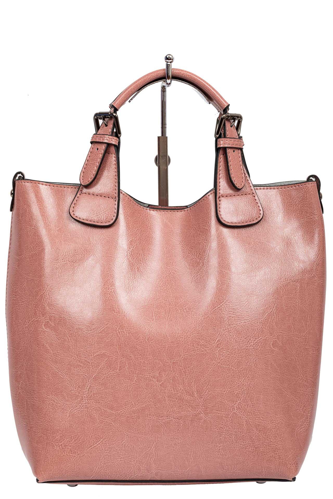 На фото 2 - Сумка тоут из натуральной кожи, цвет розовый