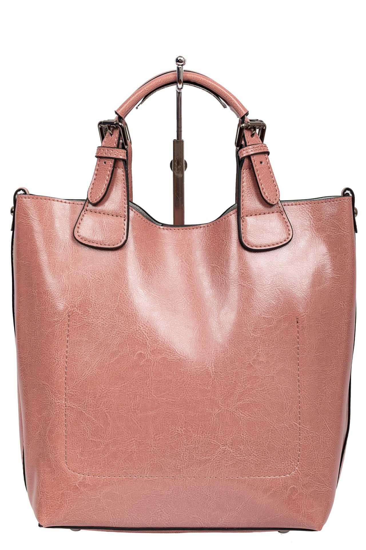 На фото 3 - Сумка тоут из натуральной кожи, цвет розовый