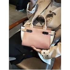 На фото 1 - Кожаная женская сумка-портфель, цвет пыльная роза с белым и бежевым
