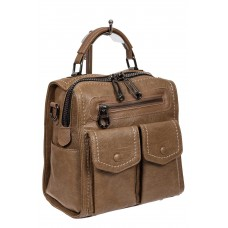 На фото 1 - Сумка-рюкзак молодёжная из экокожи, цвет бежевый