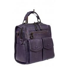 На фото 1 - Сумка-рюкзак молодёжная из экокожи, цвет фиолетовый