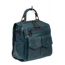 На фото 1 - Сумка-рюкзак молодёжная из экокожи, цвет зелёный