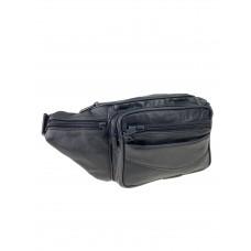 На фото 1 - Мужская сумка на пояс из мягкой кожи, цвет чёрный
