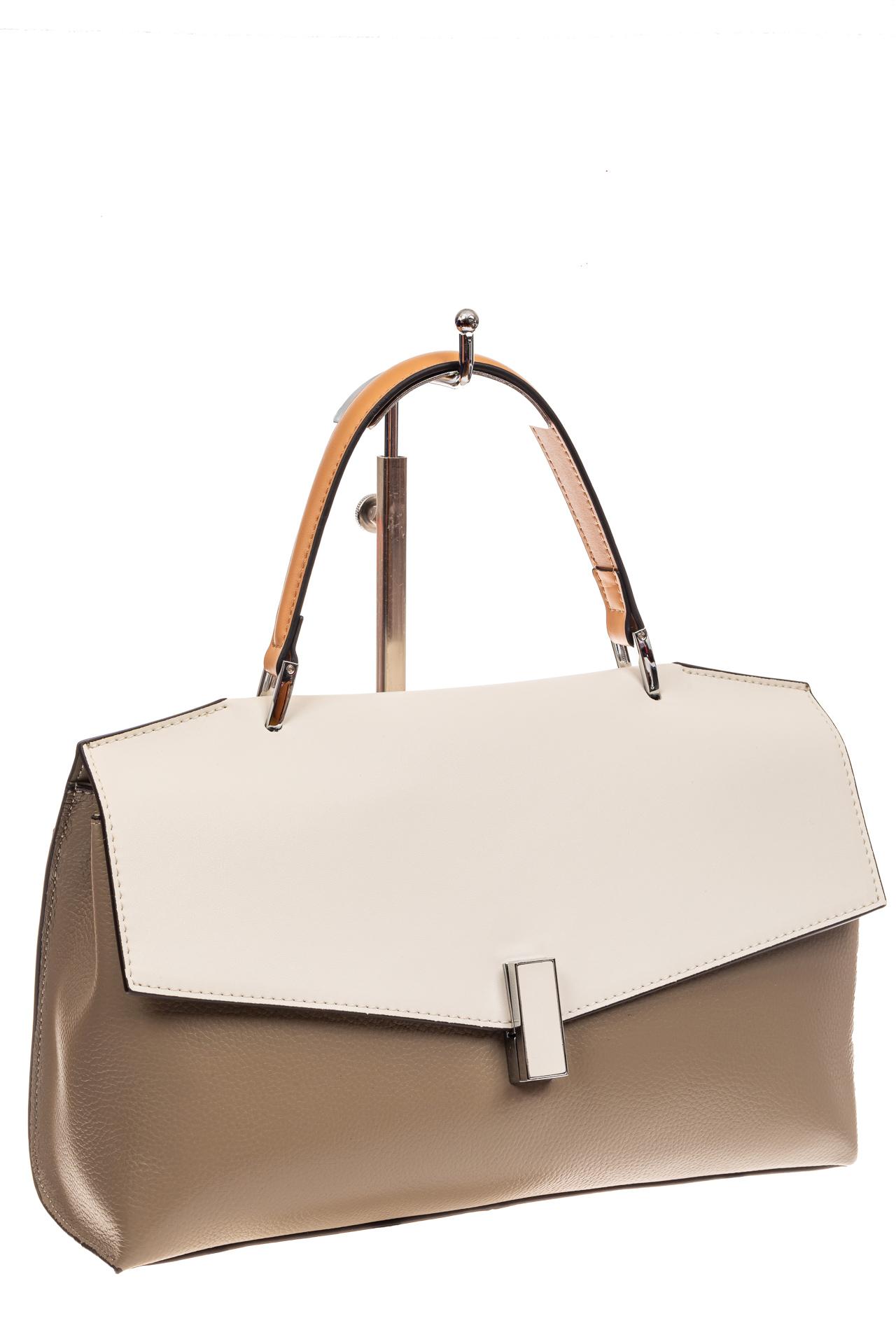 На фото 1 - Женская сумка портфель из натуральной кожи, цвет серый