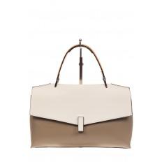 На фото 2 - Женская сумка портфель из натуральной кожи, цвет серый