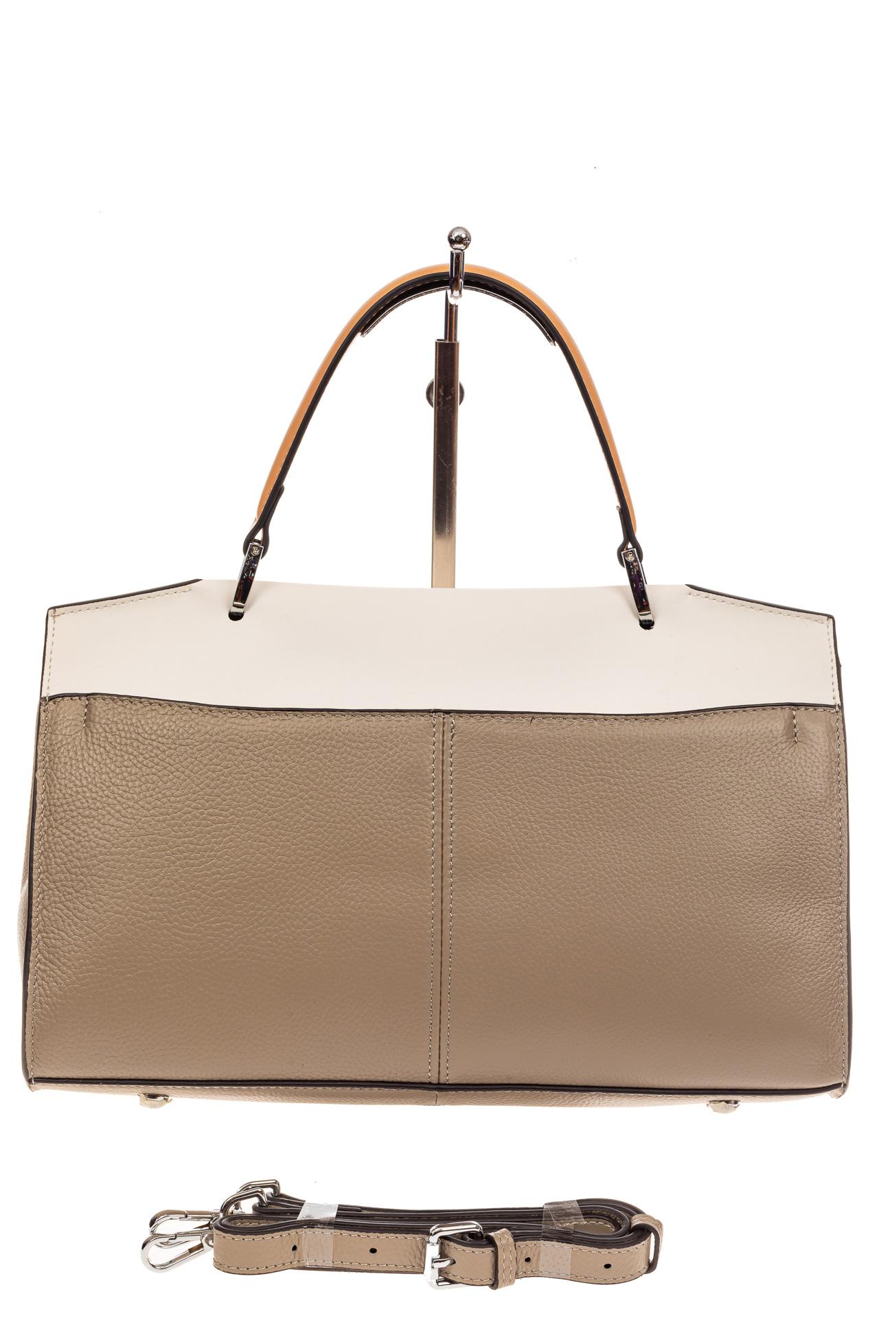 На фото 3 - Женская сумка портфель из натуральной кожи, цвет серый