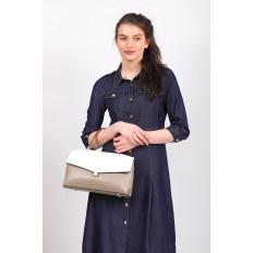 На фото 5 - Женская сумка портфель из натуральной кожи, цвет серый