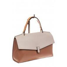 На фото 1 - Женская сумка портфель из натуральной кожи, цвет пудра