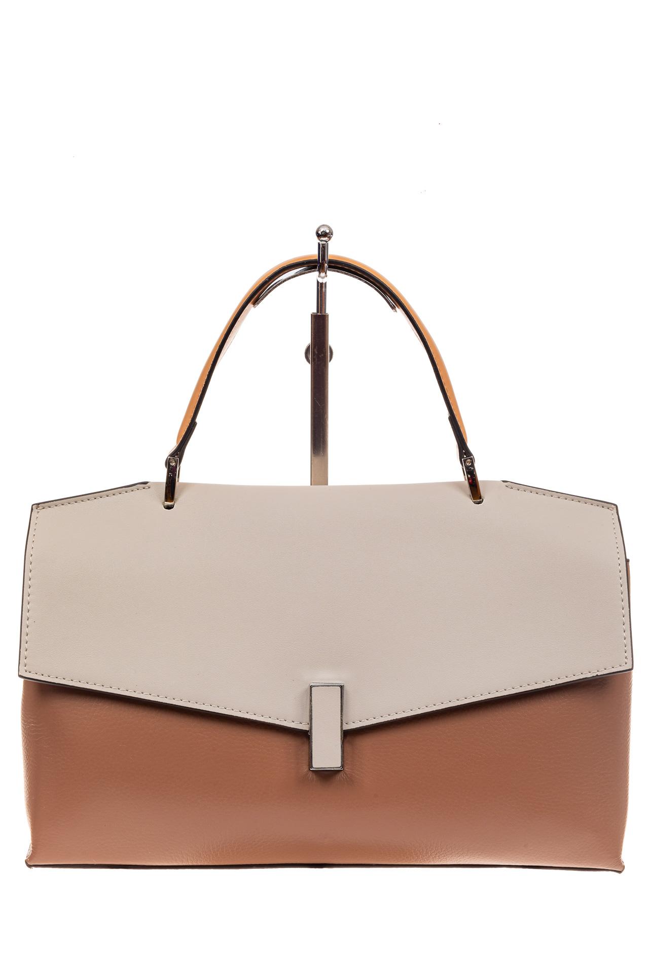 На фото 2 - Женская сумка портфель из натуральной кожи, цвет пудра