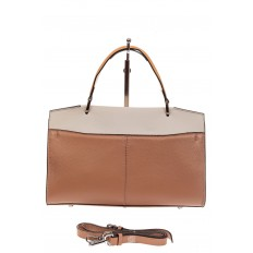 На фото 3 - Женская сумка портфель из натуральной кожи, цвет пудра