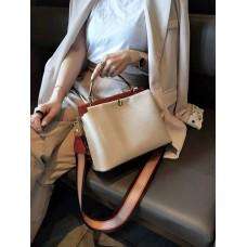 На фото 1 - Женская кожаная сумка-портфель, цвет молочный с кирпичным