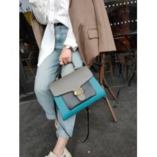 На фото 1 - Женская сумка-портфель из фактурной натуральной кожи, цвет бирюзовый с серым и чёрным