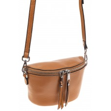 На фото 1 - Модная сумка-ведерко из натуральной кожи, цвет бежевый