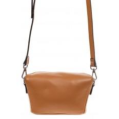 На фото 2 - Модная сумка-ведерко из натуральной кожи, цвет бежевый