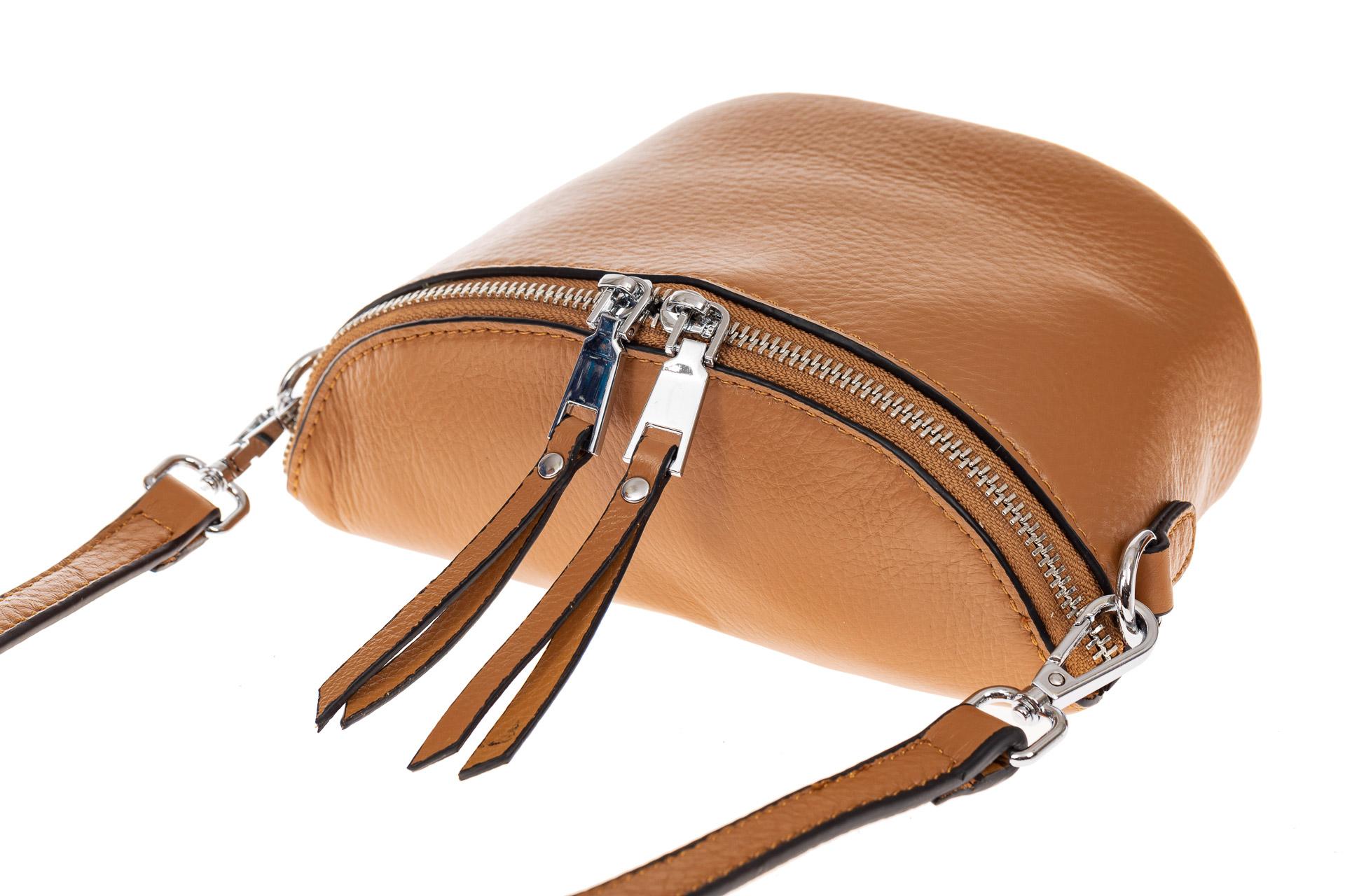 На фото 3 - Модная сумка-ведерко из натуральной кожи, цвет бежевый
