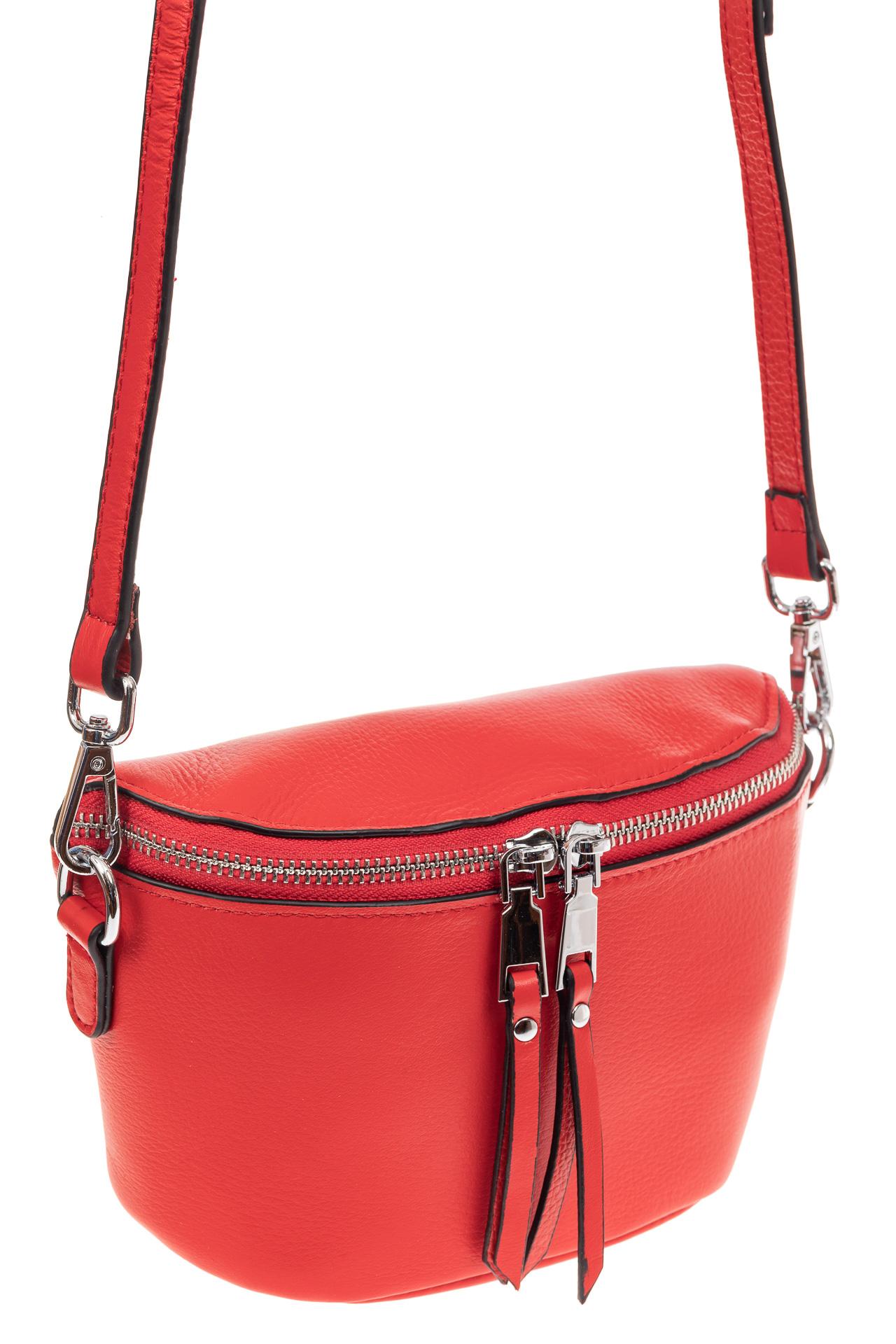 На фото 1 - Модная сумка-ведерко из натуральной кожи, цвет красный